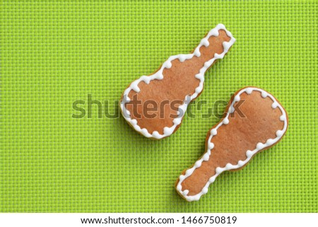 Composition of delicious gingerbread cookies shaped in various Christmas symbols Stock photo © dash
