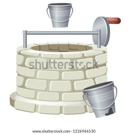 Stock photo: Well made of bricks isolated on white background. Vector cartoon close-up illustration.