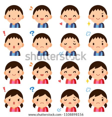 Girl Avatar Set Kid Vector. Primary School. Face Emotions. Facial, People. Cheer, Pretty. Card, Adve Stock photo © pikepicture