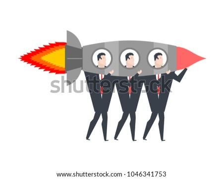 Começar para cima equipe de negócios foguete escritório vida Foto stock © MaryValery