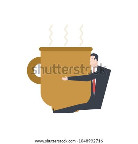 Zakenman groot koffiemok baas knuffel koffie Stockfoto © MaryValery