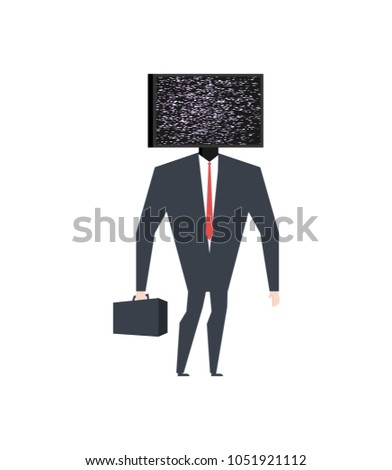Businessman head TV. Broken television. Glych effect. Vector ill Stock photo © MaryValery