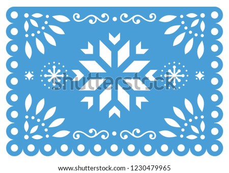 Mexican party vector template design, Papel Picado fiesta paper cut out  with floral and geometric p Stock photo © RedKoala