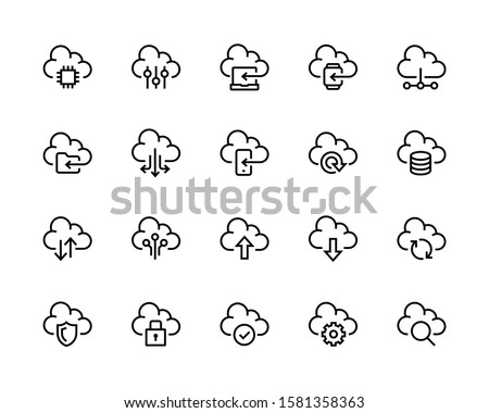 Cloud download linear icon with editable stroke. vector illustration isolated on white background. Stock photo © kyryloff