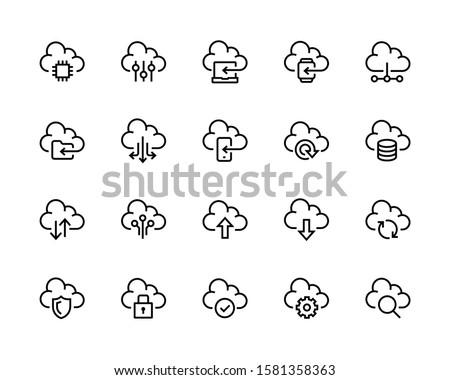 bulut · indirmek · doğrusal · ikon · düzenlenebilir · yalıtılmış - stok fotoğraf © kyryloff