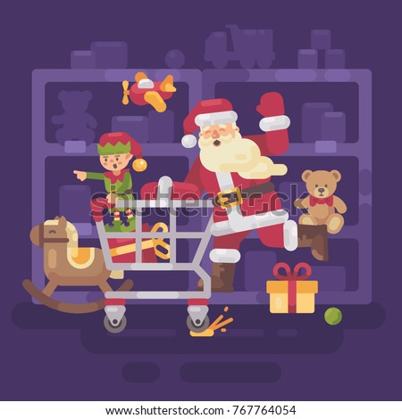 Santa Claus riding a shopping cart with his elf in a toy superma Stock photo © IvanDubovik