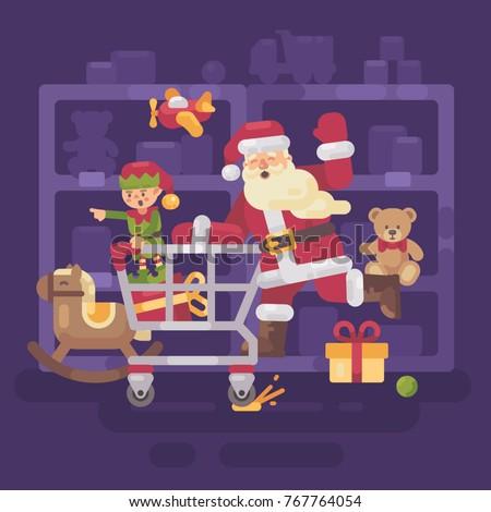 Noel baba binicilik alışveriş sepeti cin oyuncak süpermarket Stok fotoğraf © IvanDubovik