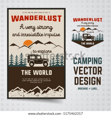 wanderlust logo emblem and brochure template vintage hand drawn travel badge featuring old car rid stock photo © jeksongraphics