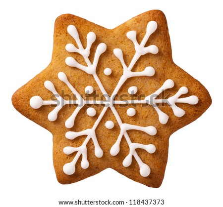 Delicious gingerbread in the shape of a star isolated on white background. Traditional Christmas fes Stock photo © Lady-Luck