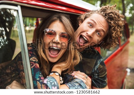 Photo of trendy hippie people men and women, smiling and taking  Stock photo © deandrobot