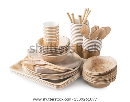 a set of disposable tableware isolated on white background vector cartoon close up illustration stock photo © lady-luck