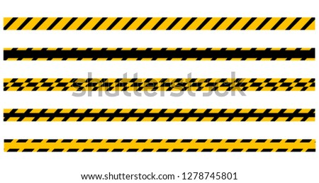 Set of seamless yellow and black warning tapes ready for your text. Vector illustration Isolated on  Stock photo © kyryloff