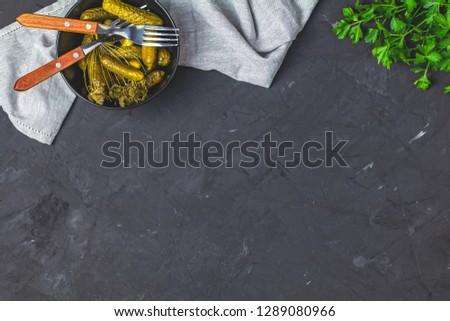 concombres · bol · Retour · concrètes · surface · table - photo stock © artsvitlyna