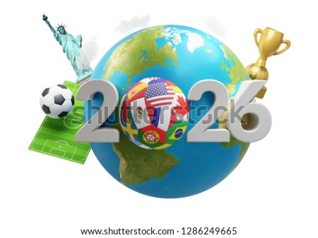 soccer planet earth America Mexico Canada 3d-illustration. eleme Stock photo © Wetzkaz