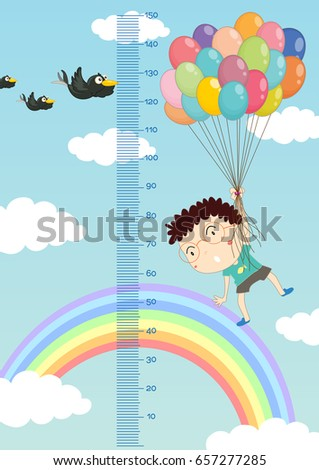Height measurement chart with boy flying balloons in sky backgro Stock photo © colematt