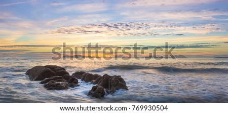 Belo marinha mar rocha pôr do sol natureza Foto stock © galitskaya