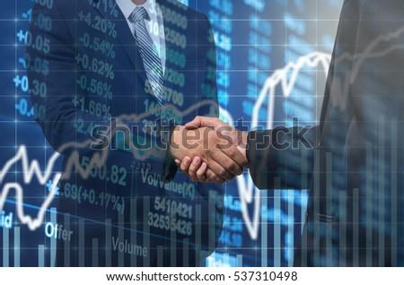 Imprenditore cooperazione stock mercato azionario grafico Foto d'archivio © snowing