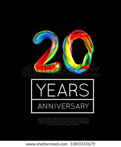 20th Anniversary, congratulation for company or person on white background. Vector Stock photo © m_pavlov