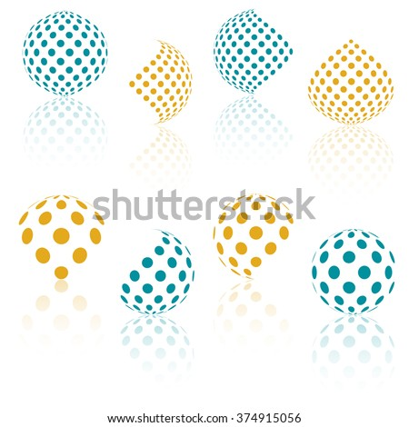 Black abstract vector triangle frame halftone dots logo emblem design element with . Round border Ic Stock photo © kyryloff