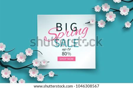 Primavera venda floral bandeira cereja Foto stock © ikopylov