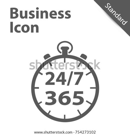 Business Clock Icon 365 Days - Standard label for Customer Service, Support, Call Center. Vector ill Stock photo © kyryloff