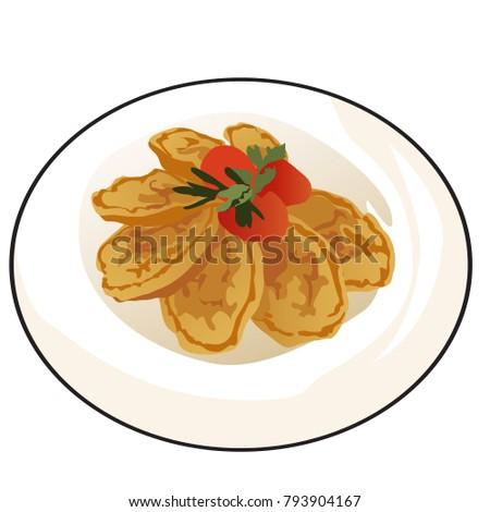Finom sült palacsinták érett paradicsomok petrezselyem Stock fotó © Lady-Luck