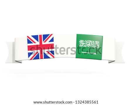 Banner with two square flags of United Kingdom and saudi arabia Stock photo © MikhailMishchenko