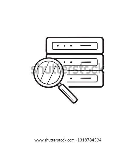 Magnifier over database server hand drawn outline doodle icon. Stock photo © RAStudio