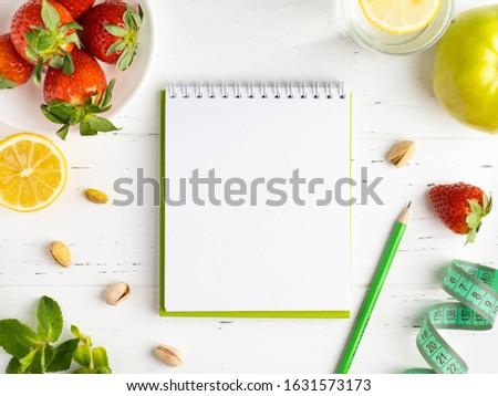 Caderno dieta nutrição legumes frescos frutas tabela Foto stock © mizar_21984