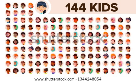 Kids Avatar Set Vector. Girl, Guy. Multi Racial. Face Emotions. Multinational User People Portrait.  Stock photo © pikepicture