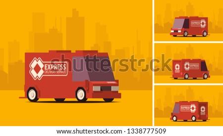 grijs · vrachtwagen · stad · landschap · komische · cartoon - stockfoto © tashatuvango