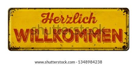 Vintage rouillée métal signe Bienvenue écrit Photo stock © Zerbor