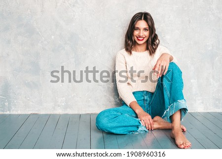 Pretty teen girls with hairstyles and red lips smiling at camera. Stock photo © studiolucky