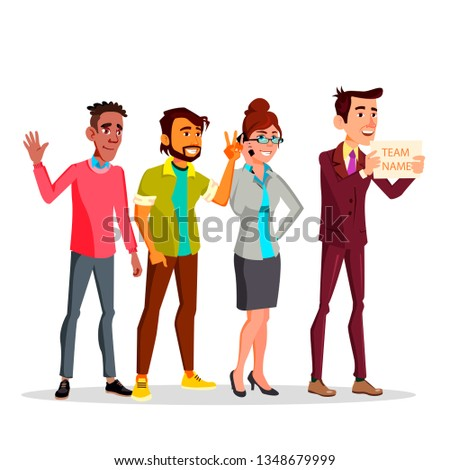 Four Multinational Female And Male Characters. One Pulling Forward A Card With Inscription Team Vect Stock photo © pikepicture