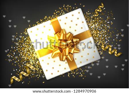Geschenkdoos gouden boeg vector realistisch guirlande Stockfoto © frimufilms