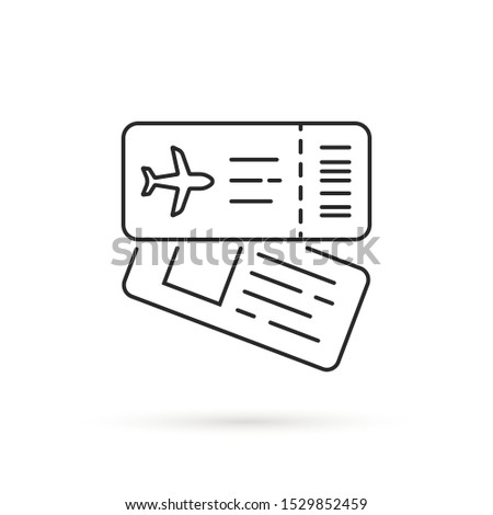 Simple airplane tickets icon - linear style icon of two overlapp Stock photo © Winner