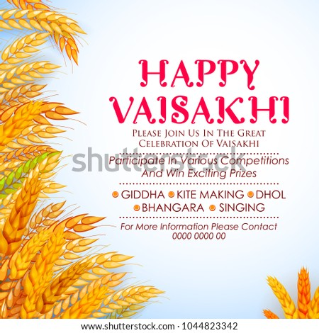 Happy Vaisakhi Punjabi spring harvest festival of Sikh celebration background Stock photo © vectomart