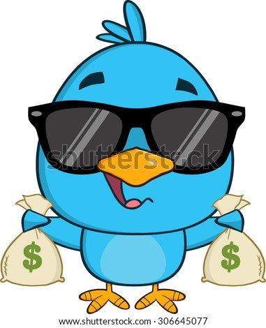 Cute Blue Bird With Sunglasses Cartoon Character Holding A Bags Of Money Stock photo © hittoon