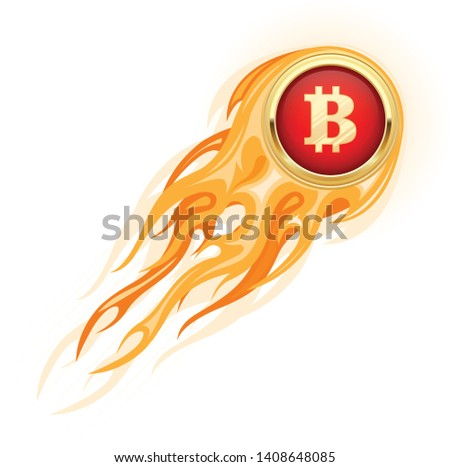 bitcoin takeoff   flaming bitcoin flying up cryptocurrency grow stock photo © winner