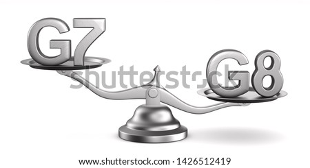 Scales and sign G7, G8 on white background. Isolated 3D illustra Stock photo © ISerg