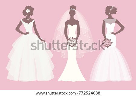 Profile of the bride in a wedding dress with a bouquet of flower Stock photo © UrchenkoJulia