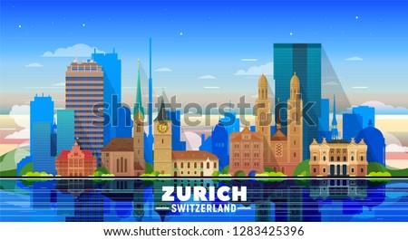 Zurich city silhouette, Switzerland - old town view, city panora Stock photo © Winner