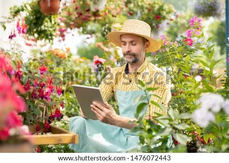 Volwassen tuinman hoed werkkleding vergadering Stockfoto © pressmaster