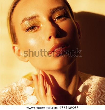 Beauty, cosmetics and makeup. Magic eyes look with bright creative make-up. Macro shot of beautiful  Stock photo © serdechny