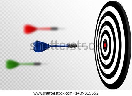 Vector red dart arrows flying to target dartboard. Metaphor to target success, winner concept Stock photo © Iaroslava