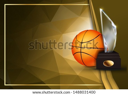 Basketball Certificate Diploma With Glass Trophy Vector. Sport Vintage Appreciation. Modern Gift. Pr Stock photo © pikepicture