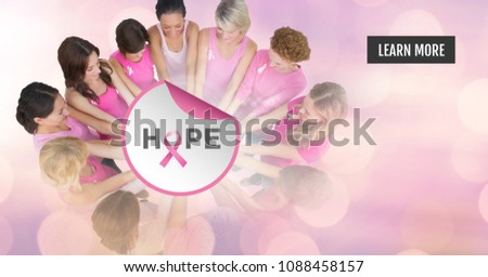 Hope text with breast cancer awareness women putting hands together Stock photo © wavebreak_media