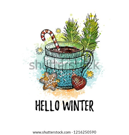 hello winter poster gingerbread cookies candy canes and anise stars laying on white wooden backgro stock photo © ikopylov