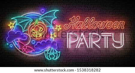 glow halloween greeting card with vampire pumpkin on the night s stock photo © lissantee