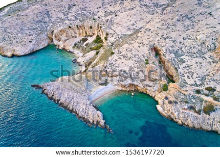 Stock photo: Island of Krk idyllic pebble beach with karst landscape aerial v